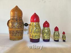 Vintage Russian Matryoshka 5 Nesting Dolls USSR Sticker Warrior Viking