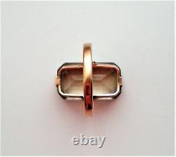 Vintage Russian Russia USSR 14K 583 Rose Pink Gold Smokey Topaz Cocktail RING