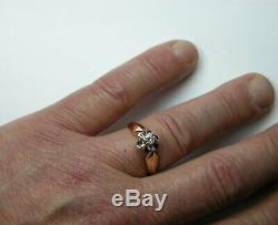 Vintage Russian Soviet 583 14k Rose Gold Diamond Engagement Ring