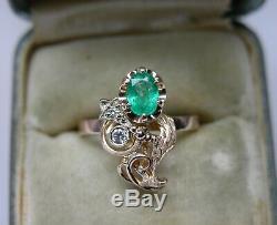 Vintage Russian Soviet 583 14k Rose Gold Natural Emerald Diamond Ring