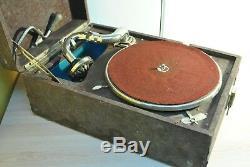 Vintage Soviet Portable Gramophone Russian Pathephone Molot Gramophone. Works