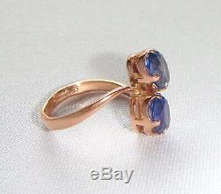 Vintage Soviet Russian 583,14k Solid Rose Gold Ring Corundum Sapphire size 7