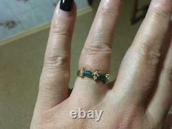 Vintage Soviet Russian 583 tests, 14k Solid Gold Ring With 2 Emeralds And Diamond