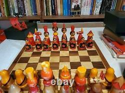 Vintage Soviet Russian Babushka Chess Set Large Wood PIeces Painted 6.5 King