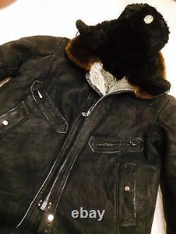 Vintage Soviet Russian uniform pilot coat (sheepskin)+hat, style WW-2