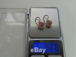 Vintage Soviet Solid Rose Gold Earrings 14K 583 Amethyst 4.37 gr Russian USSR