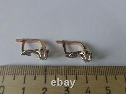 Vintage Soviet Solid Rose Gold Earrings 14K 583 Diamond 3.71 gr Russian USSR