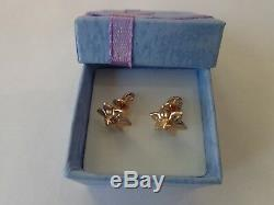Vintage Soviet Solid Rose Gold Earrings 14K 583 Star Hammer Russian USSR 3.32 gr