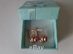 Vintage Soviet Solid Rose Gold Earrings 14K 583 Star Ruby 3.54 gr Russian USSR