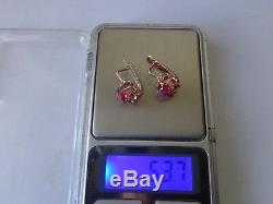 Vintage Soviet Solid Rose Gold Earrings 14K 583 Star Ruby 5.37 gr Russian USSR