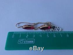 Vintage Soviet Solid Rose Gold Earrings 14K 583 Star Ruby 5.80 gr Russian USSR