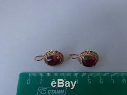 Vintage Soviet Solid Rose Gold Earrings 14K 583 Star Ruby 8.09 gr Russian USSR