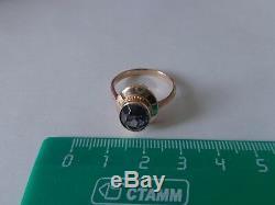 Vintage Soviet Solid Rose Gold Ring 14K 583 Alexandrite Size 8.25 Russian USSR