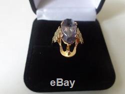 Vintage Soviet Solid Rose Gold Ring 14K 583 Alexandrite US Size 7 Russian USSR