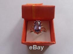 Vintage Soviet Solid Rose Gold Ring 14K 583 Alexandrite US Size 9 Russian USSR