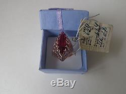 Vintage Soviet Solid Rose Gold Ring 14K 583 Red Ruby US Size 6.5 Russian USSR