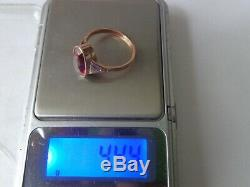 Vintage Soviet Solid Rose Gold Ring 14K 583 Star Ruby US Size 8.25 Russian USSR