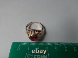 Vintage Soviet Solid Rose Gold Ring 14K 583 Star Ruby US Size 8.75 Russian USSR