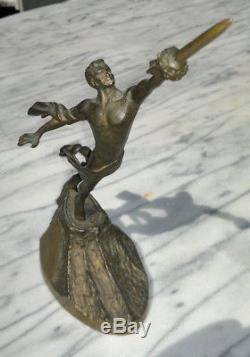 Vintage Soviet USSR Russian Bronze Astronaut Figure Statue Space Yuri Gagarin