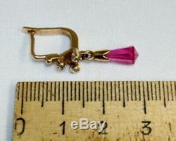 Vintage Star Earrings russian Soviet USSR jewelry Gold 14K 583 Briolette Ruby