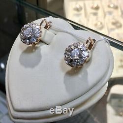Vintage USSR Retro Earrings Raspberries Russian Soviet USSR Jewelry Gold 14K 585