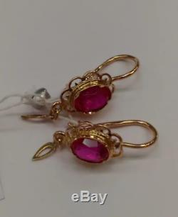Vintage rare Beautiful Earrings russian Soviet USSR jewelry Gold 14K 583 Ruby