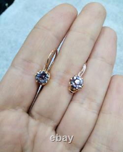 Vintage russian Soviet USSR jewelry Lovely Earrings Rose Gold 14K 583