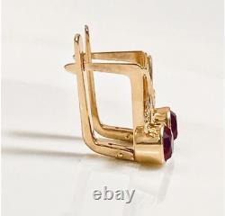 Vintage russian Soviet USSR jewelry Lovely Earrings Rose Gold 14K 585