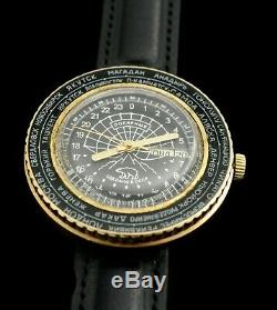Vintage watch RAKETA WORLDTIME Polar Expedition Russian Soviet gold plated AU-10
