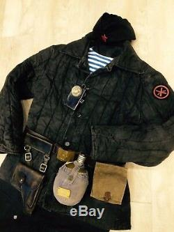 WW 2. Russian Soviet uniform. Marine Corps. Cloak, hat, trousers, flashlight