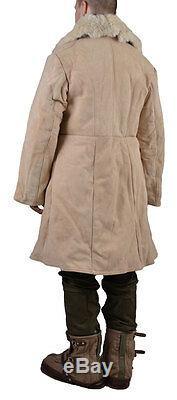 White sheepskin 100% coat jacket ORIGINAL military man fishing USSR Russian army