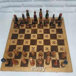 Wooden Soviet chess set, chess board, chess pieces, Russian chess, Vintage Board