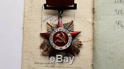 14k Gold Siler Emaux Ordre Soviétique De La Guerre Patriotique 1 Document De Classe