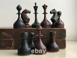 1930-40s Rare Vintage Urss Soviétique Russe Jeu D'échecs En Bois Vtg Old Antique