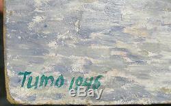 1946 Original Russe Art Soviétique Artiste Réalisme Social Peinture À L'huile Cygnes