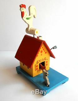 1950 Urss Mécanique En Bois Soviétique Russe Toy Orgue Baril Fairy-tale Log Hut