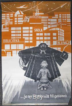1963 Affiche Russe De Propagande Religieuse D'urss De Lettonie Anti-religion