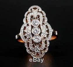 1963 Bague Lettone Russe Soviétique En Or Massif 14k Avec Diamants En Platine Ø 9us / 6.4gr