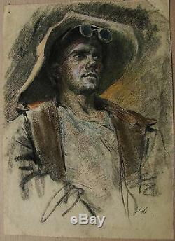 Acier Portrait Peinture Soviétique Russe Ukrainien Fondoir Réalisme Man1950s Travail