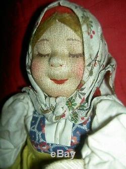 Antique, Labeled8091 Fabriqué En Union Soviétique, 10 Tissu Stockinette Poupée Russe