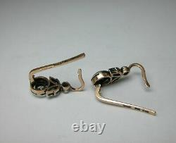 Antique Soviétique De Russie 583 14k Diamant Boucles D'oreilles En Or Rose