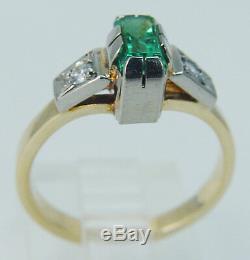 Bague À Diamant Émeraude En Or Jaune De 18 Carats 750 Russie Urss Union Soviétique Vintage