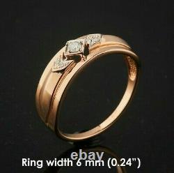 Bague Diamant Or Russe Or Massif Rose Or 14k 585 2.3g Urss Soviet Style Vintage