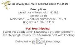 Bague En Or Rose Massif Bijoux 14k Vintage Russe Urss Soviétique 2.1g Sz Diamant 5.5