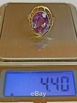 Bague Vintage Changer La Couleur Alexandrite En Argent Sterling 875 Urss Soviétique De Russie
