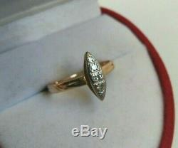 Bague Vintage Diamant Naturel Yakoutie Urss Rose & Or Blanc 583 14k Star Russe