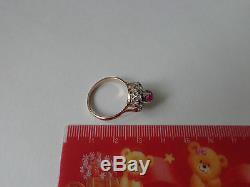 Bague Vintage En Or Blanc Avec Diamants Rose Soviétique 14k 583 Rubis Rouge Cz Taille 8.75 Urss Russe