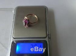 Bague Vintage En Or Rose Massif Soviétique 14k 583 Star Ruby Taille Us 6.75 Urss Russe