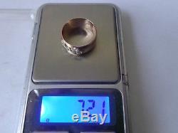 Bague Vintage En Or Rose Soviétique 14k 583 Diamant Taille Us 8,5 (18,5 Mm) Urss Russe