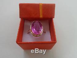 Bague Vintage En Or Rose Soviétique 14k 583 Rubis Rose Taille 9.5 (19.5 Mm) Urss Russe